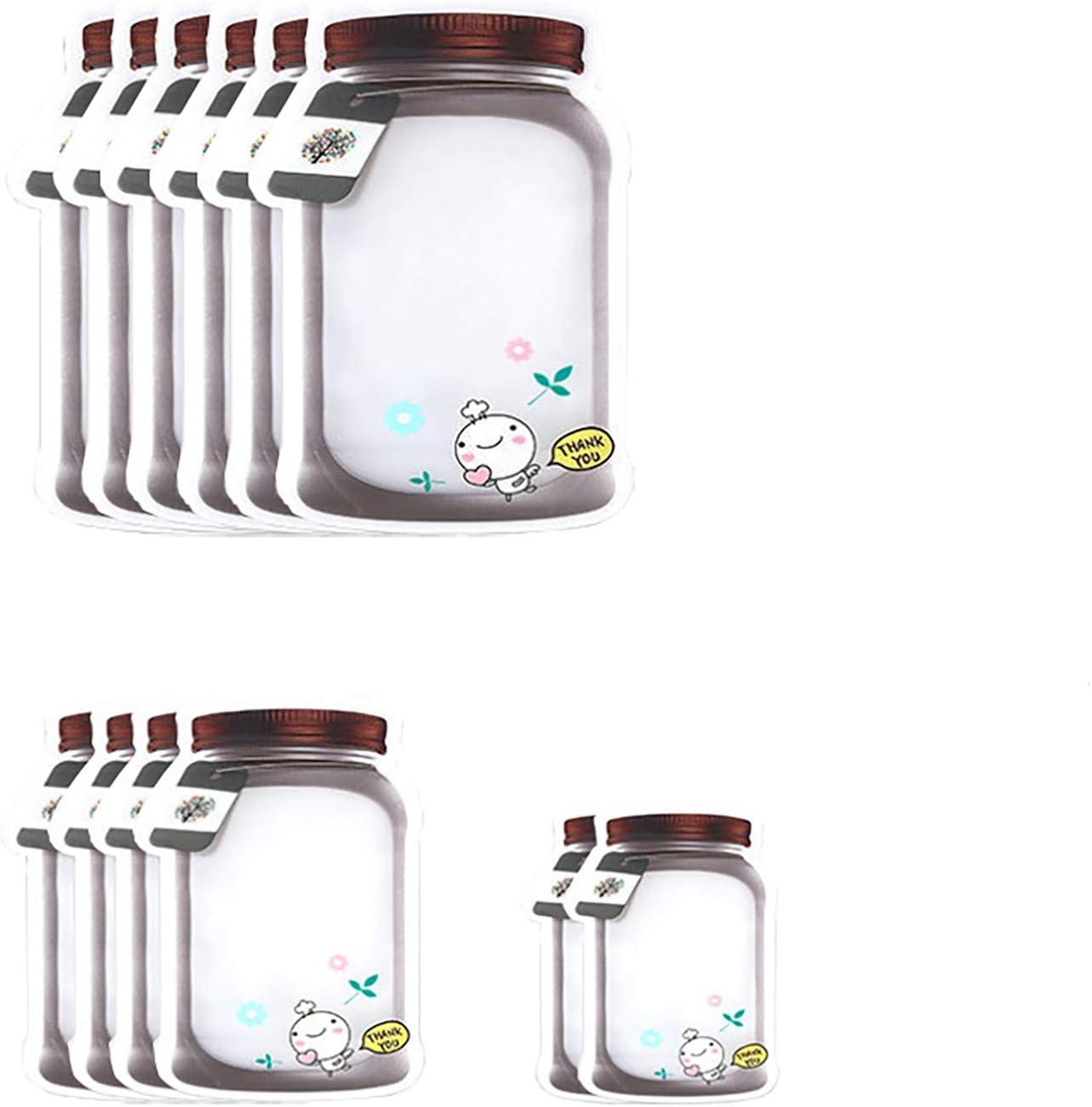 Enkrio Reusable Mason Jar Ziplock Bags Reusable Food Storage Bags for Kid Snack Sandwich Leak-Proof for Kitchen Travel Camping Picnic Organizer Mason Jars Storage Bags 12Pack (6Large, 4Medium, 2Small)