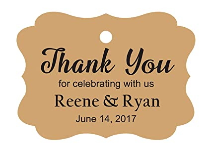 c86b858d5c24 100 PCS Custom Wedding Favor Hang Tags Thank you for celebrating  Personalized Paper Tags