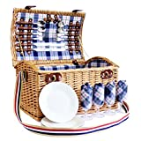 Chatsworth 4 Person Wicker Picnic Basket Set Hamper with Cream Blanket & Cream Chiller Bag - Gift ideas for Valentines, him, her, Birthday, Wedding, Anniversary, Corporate, Business, Vacation