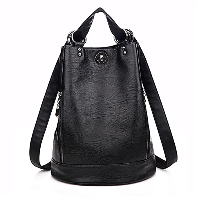 Multifunction Women Backpack PU Leather Black Bagpack Large Capacity Travel Bag Female Rucksack Shoulder Bag Mochila