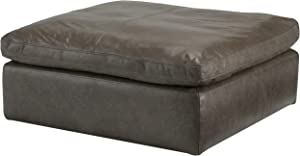 Signature Design by Ashley Alabonson Leather Upholstered Oversized Accent Ottoman, Cushion Top, Dark Gray