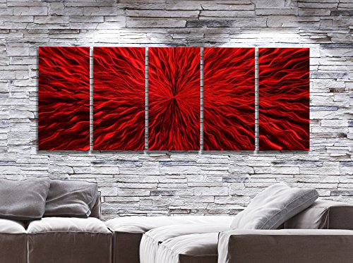 Over-Sized Vibrant Fusion Of Red Jewel Tone Abstract Contemporary