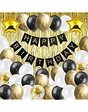 Verjaardagsdecoratie set inclusief metallic goud, zwart, witte latex ballon, gouden confetti ballon, gouden folieballon, happy birthday banner, goudfolie franje gordijn feestartikelen