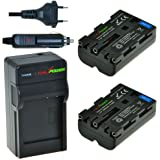 ChiliPower Sony NP-FM500H Kit: 2x Batterie (1800mAh) + Chargeur pour Sony Alpha SLT-A57, A58, A65, A65V, A77, A77V, A99, A100, A200, A300, A350, A450, A500, A550, A560, A580, A700, A850, A900, Sony CLM-V55