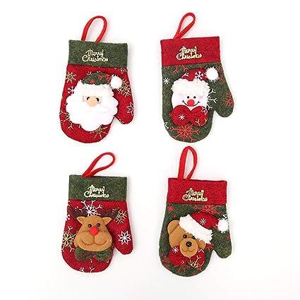 BESTOYARD 4 unids Navidad Cubiertos de Plata Bolsillos Bolsillos de Santa muñeco de Nieve Renos Oso
