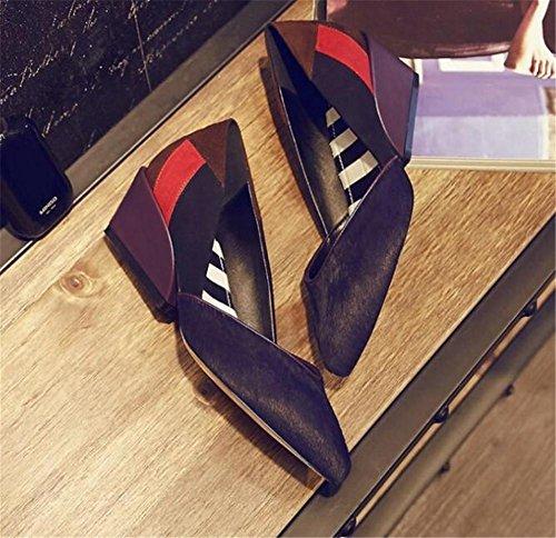 Femmes Chaussures Véritable Plate-Forme En Cuir Coin Cheveux Cheveux Slip Sur La Taille 35To38 Black B9lMW