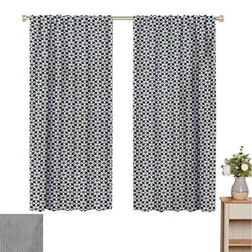 Mozenou Floral, Decorative Curtains for Living Room, Overlapping Shapes Symmetrical Ornament Tile in Blue and Yellow Shades, Waterproof Window Curtain Dark Blue Pale Mustard