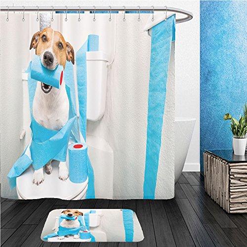beshowereb traje de baño: showercurtian & Felpudo Jack Russell Terrier, sentado sobre una Asiento para inodoro con...