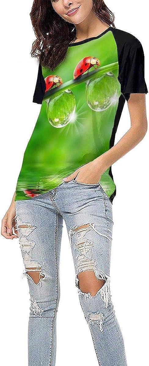 Womens Summer Short Sleeve Three Ladybugs Casual Raglan Tee Baseball Tshirts Tops Blouse