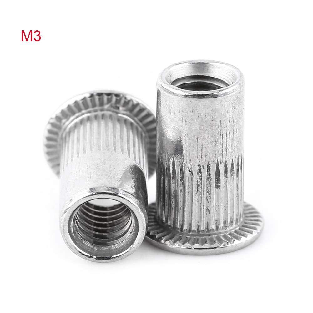 Rivet Nuts Flat Head Aluminum Threaded Blind Insert Rivnut sert Screw Stainless Steel M3-M8 (M5) Zerone