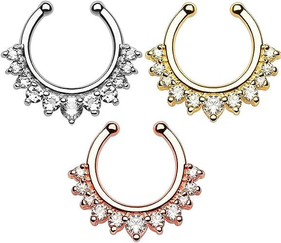 Amazon Com Crazypiercing Fake Nose Ring Septum Piercing Jewelry