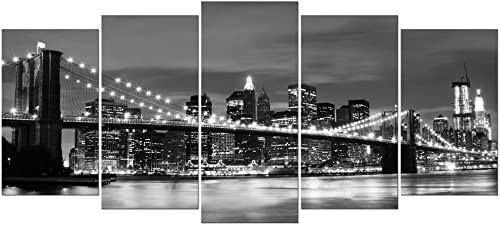Wieco Art Large Brooklyn Bridge Night View Modern Giclee Canvas Prints Artwork Landscape Pictures to Photo Paintings on Stretched and Framed Canvas Wall Art