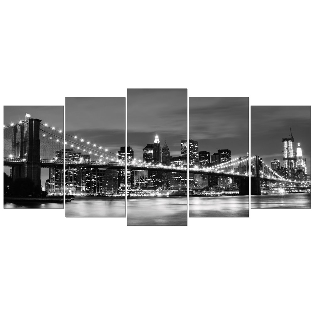 Wieco Art Large Brooklyn Bridge Night View Modern Giclee Canvas Prints Artwork Landscape Pictures to Photo Paintings on Stretched and Framed Canvas Wall Art for Home Decorations