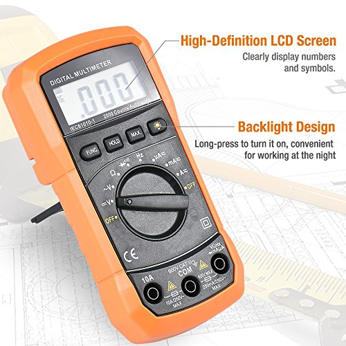 Digital Multimeter, BEBONCOOL Auto-Ranging AC DC Voltmeter, Electronic Amp Volt Ohm Voltage Tester with Diode and Continuity Test Scanners, Backlight LCD Display (Orange) by BEBONCOOL (Image #3)