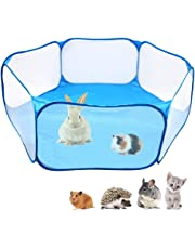 Small Animals C&C Cage Tent, Breathable & Transparent Pet Playpen Pop Open Outdoor/Indoor Exercise Fence, Portable Yard Fence for Guinea Pig, Rabbits, Hamster, Chinchillas and Hedgehogs