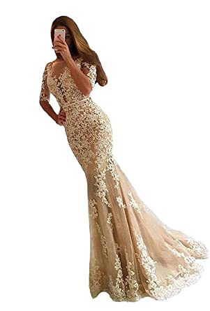 Dannifore Champagne Bodycon Backless Lace Prom Evening Dresses For Women Formal With Sleeves Size 2