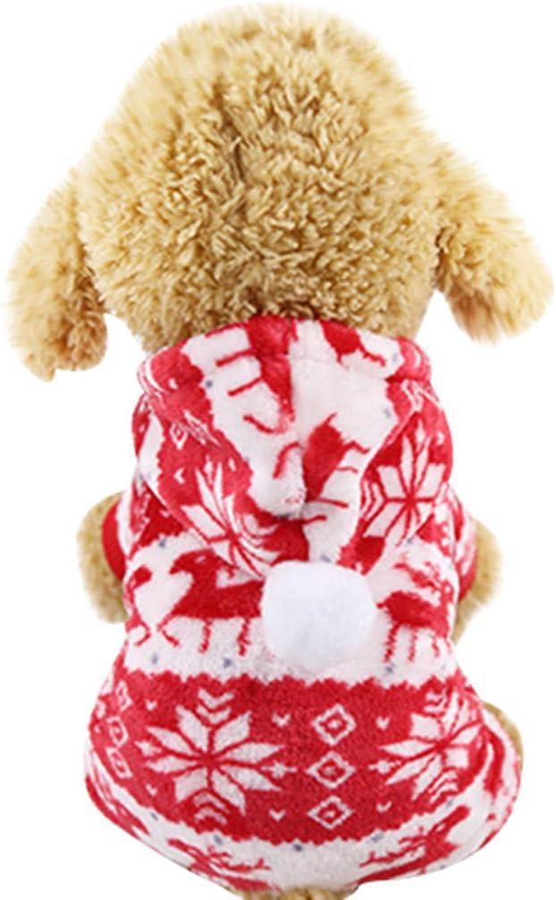 Fossrn Disfraz Navidad Ropa Perro Pequeño Invierno Franela Sudadera con Capucha Copo de Nieve Abrigo Jersey para Mascota Chihuahua Yorkshire Cachorro