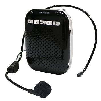 WinBridge Amplificador de Voz con el micrófono del Auricular y micrófono Lavalier Cintura-Banda Altavoz Recargable PA portátil Construido en FM estéreo ...