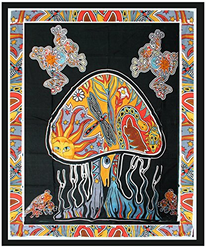 Indian Psychedelic Mushroom Tapestry Wall hanging Hippy Tapestry Bedding Bedspread Dorm Decor