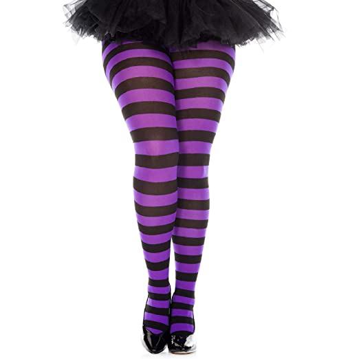 ad4f34647c2 Image Unavailable. Image not available for. Color  Plus Size Purple Black  Wide Striped Tights