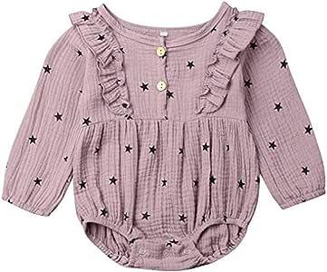 Newborn Baby Girls Floral Print Long Sleeve Round Neck Vintage Romper Infants Ruffles Jumpsuit (18-24 Months,09)