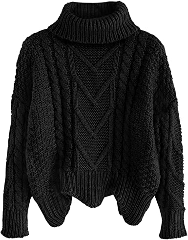 ZAFUL Women's Turtleneck Irregular Hem Chunky Cable Knit Pullover Sweater