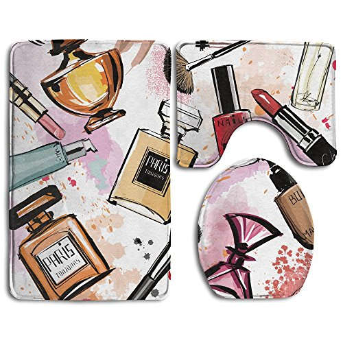 SarahKen Bathroom Rug Girly Cosmetic And Make Up Theme Pattern With Perfume And Lipstick Nail Polish Brush Modern City 3 Piece Bath Mat Set Contour Rug And Lid Cover