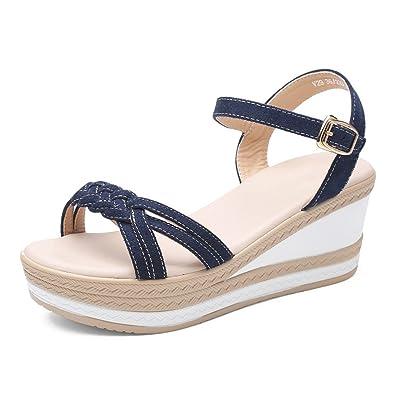 WXMDDN Sommer Fashion Women es Slope und Sandalen Wasserdichte Plateauschuhe Flache Boden mit Einem Dicken Boden...