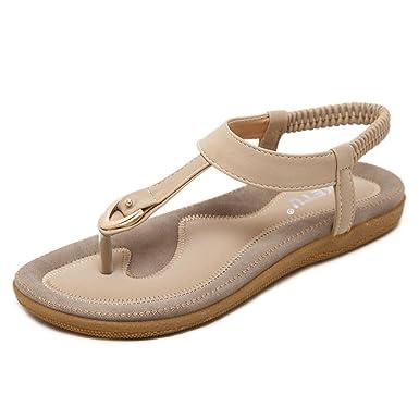 Sandalen Damen Sommer Bohemia Beach Sandal Flach Sommerschuhe Metal Hardware Sandals PU Leder Zehentrenner Flip-Sandalen Toe Separator Blau 38 oLT5p
