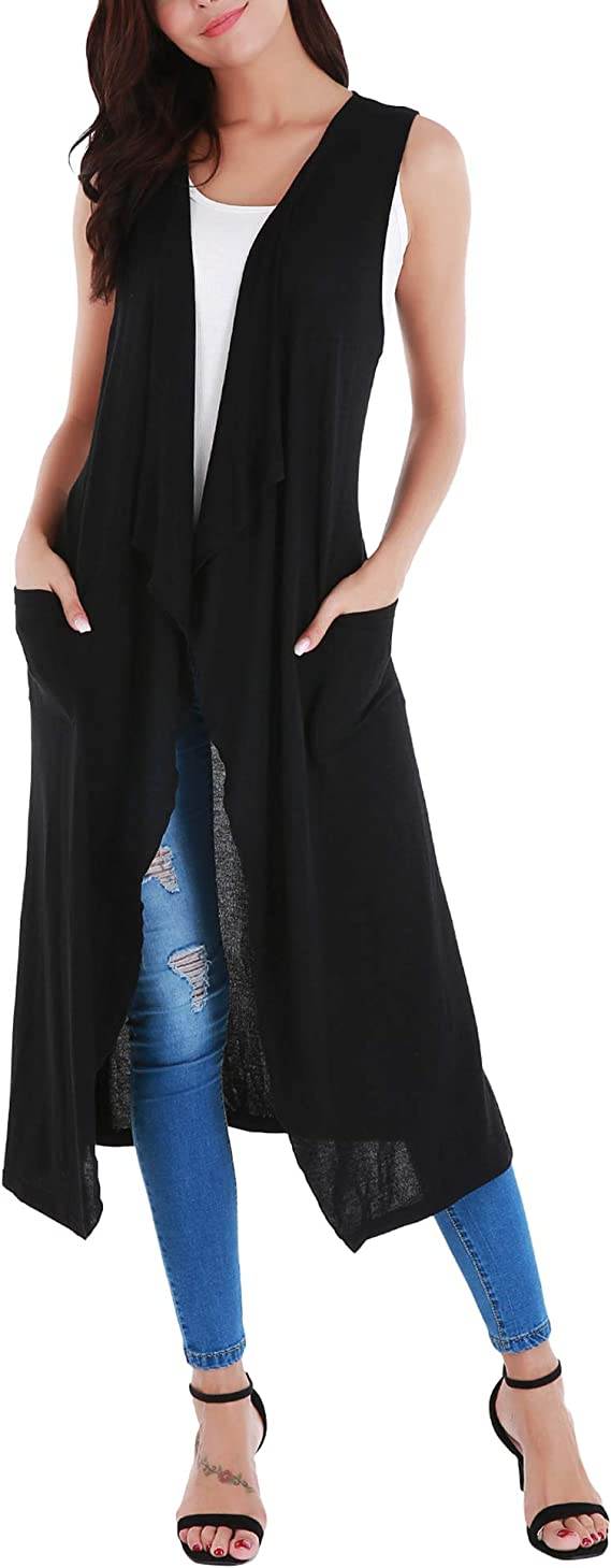 UUANG Womens Sleeveless Open Front Drape Long Cardigan Duster Vest with Pockets and Belt