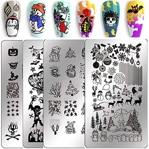 Konad Stamping Halloween (Nail Stamping Kit Christmas Nail Plates - Ejiubas Nail Stamping Plate Nail Art Stamping Kit Nail Polish Stamping Plate Set Halloween Nail Stamping Templates EJB X07)