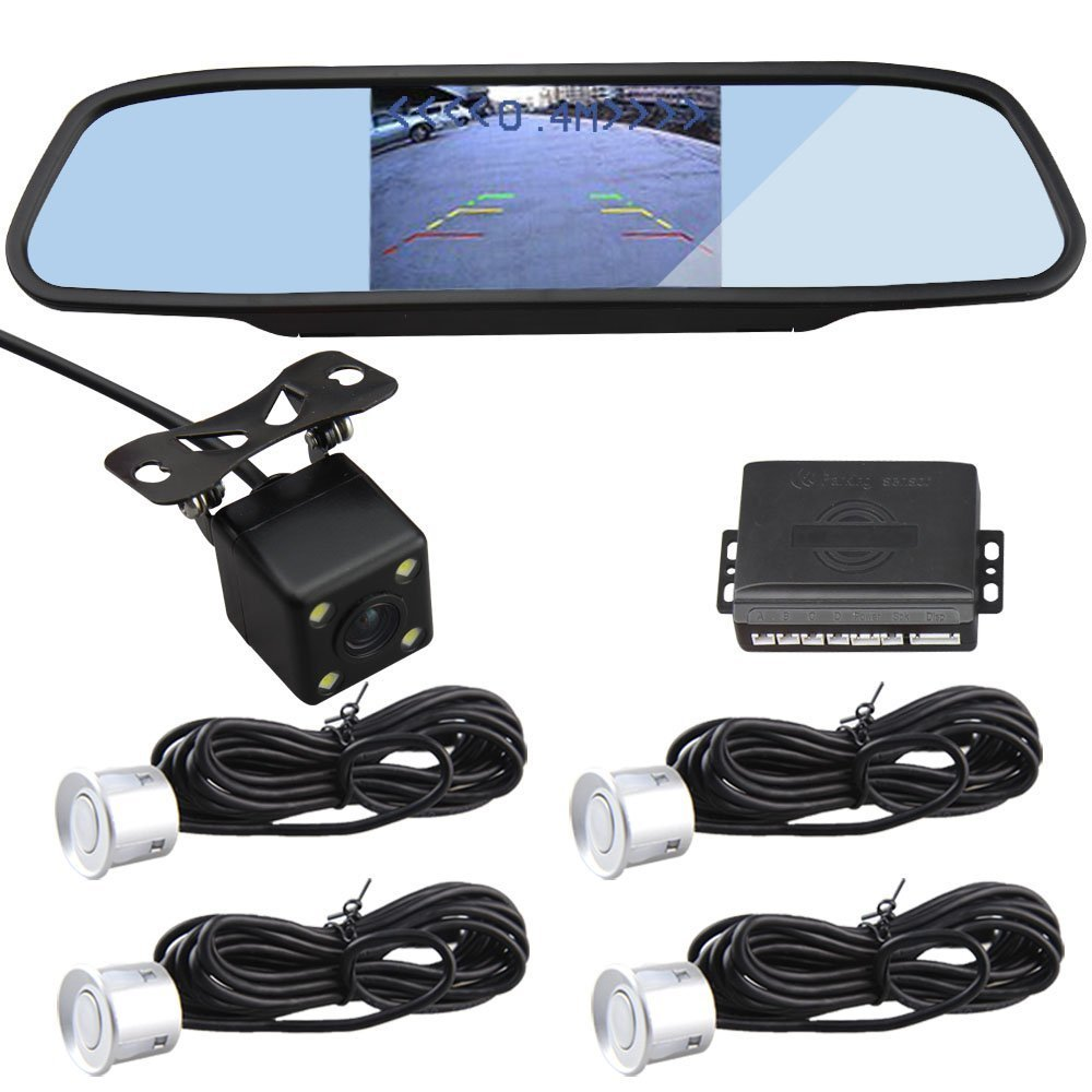 CAR ROVER Backup Rear View Camera Kit with 4 Parking Sensor (Silver)