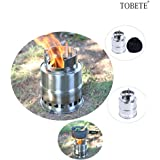 TOBETE Stainless Steel Burning Camping Stove Compact Wood Lightweight Burning Backpacking Stove Tool