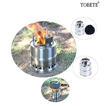 tobete quema de acero inoxidable camping estufa compacta estufa de campaña de grabación de madera ligero herramienta: Amazon.es: Hogar