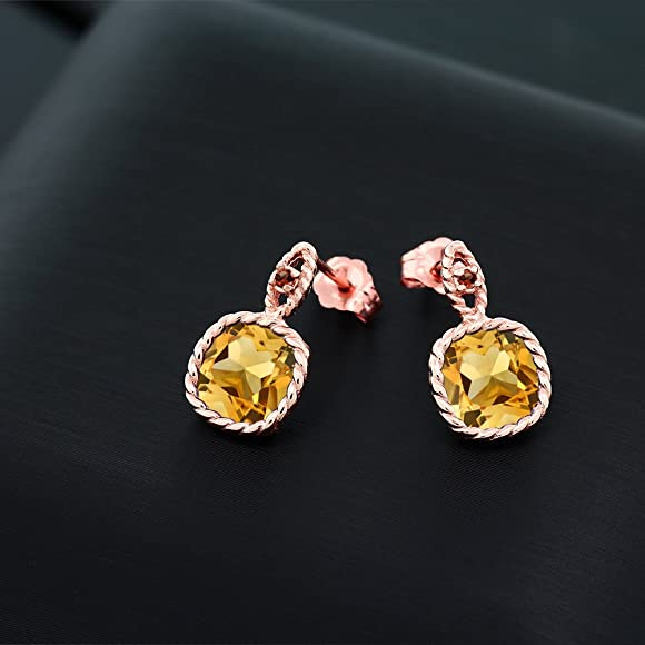 Amazon.com: 6,04 ct cojín amarillo Citrina Rojo Granate 10 K ...
