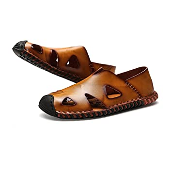 6aa336235d0 Qingqing Mens Sports Sandals Leather Fisherman Sandals Closed Toe Summer  Outdoor Beach Shoes Water Slippers Mens