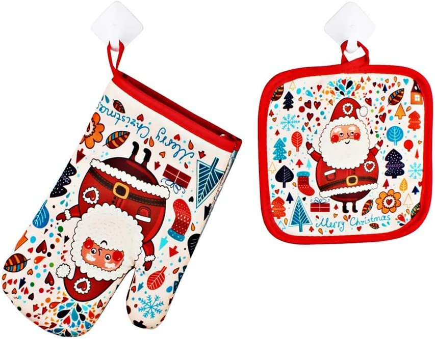 KOERIM Oven Mitts and Pot Holder (2-Piece Sets), Christmas Santa Claus Print Heat Resistant Oven Mitt for Baking