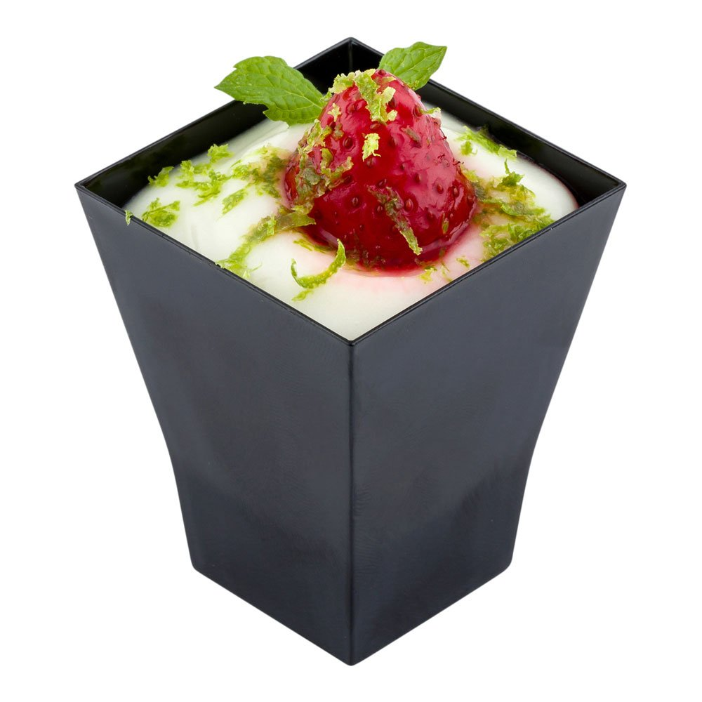 Black Plastic Square Cup - Bonito Cup - Dessert Cup, Fruit Cup - 2 oz - 100ct Box - Restaurantware