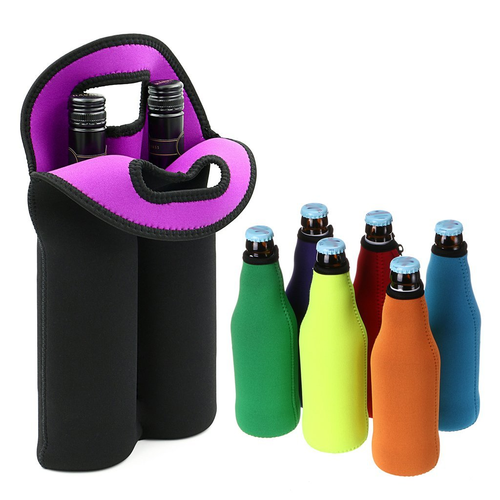 Hipiwe Set Of 2 6 Pack Beer Water Can Carrier Tote Bottle Holder Baby Cooler Bag Insulated Neoprene Wine Carrier Tote Bag Perfect For Travel With Secure Carry Handle Home Kitchen