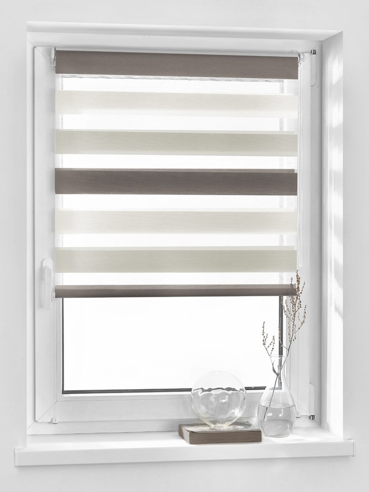 Vidella Double Zebra 3Color Window Roller Blind Fittings 64cm, White/Beige/Bronze, ZTC 64
