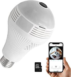 Light Bulb Camera,Dome Surveillance Cameras,Full HD 1080P Home 2.4GHz WiFi Camera with 16G SD card,360° Panoramic Camera,Home Baby、Pet Monitor