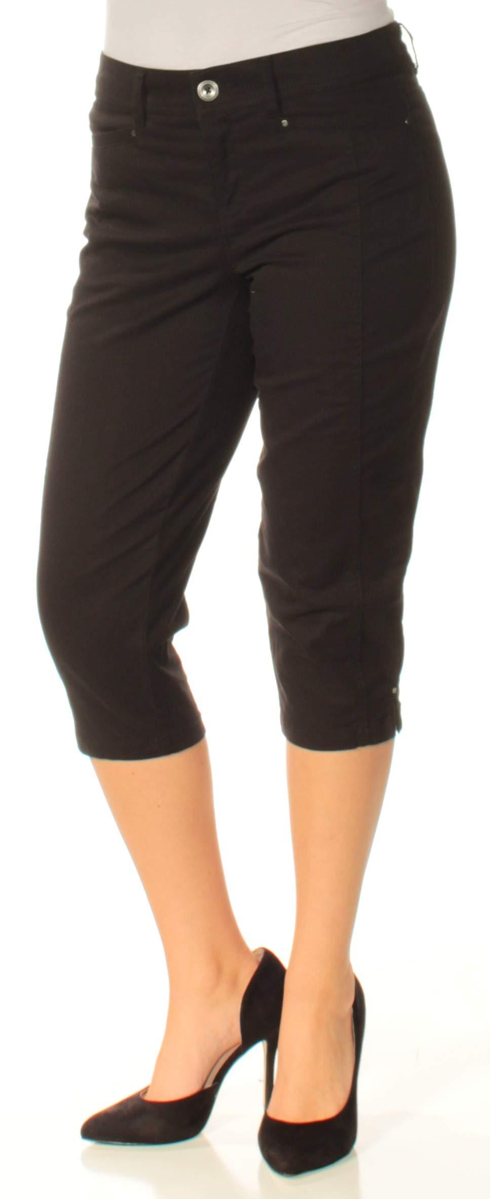 Style & Co. Womens Petites Mid-Rise Tummy Control Capri Pants Black 6P