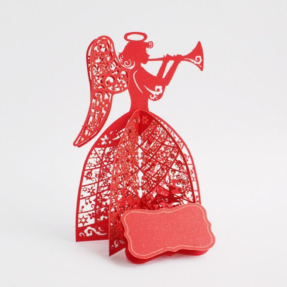 Heliyan Cards 10Pcs Angel Play The Music 3D Laser Cut Pop Up Cards Custom Christmas Supplies Gifts