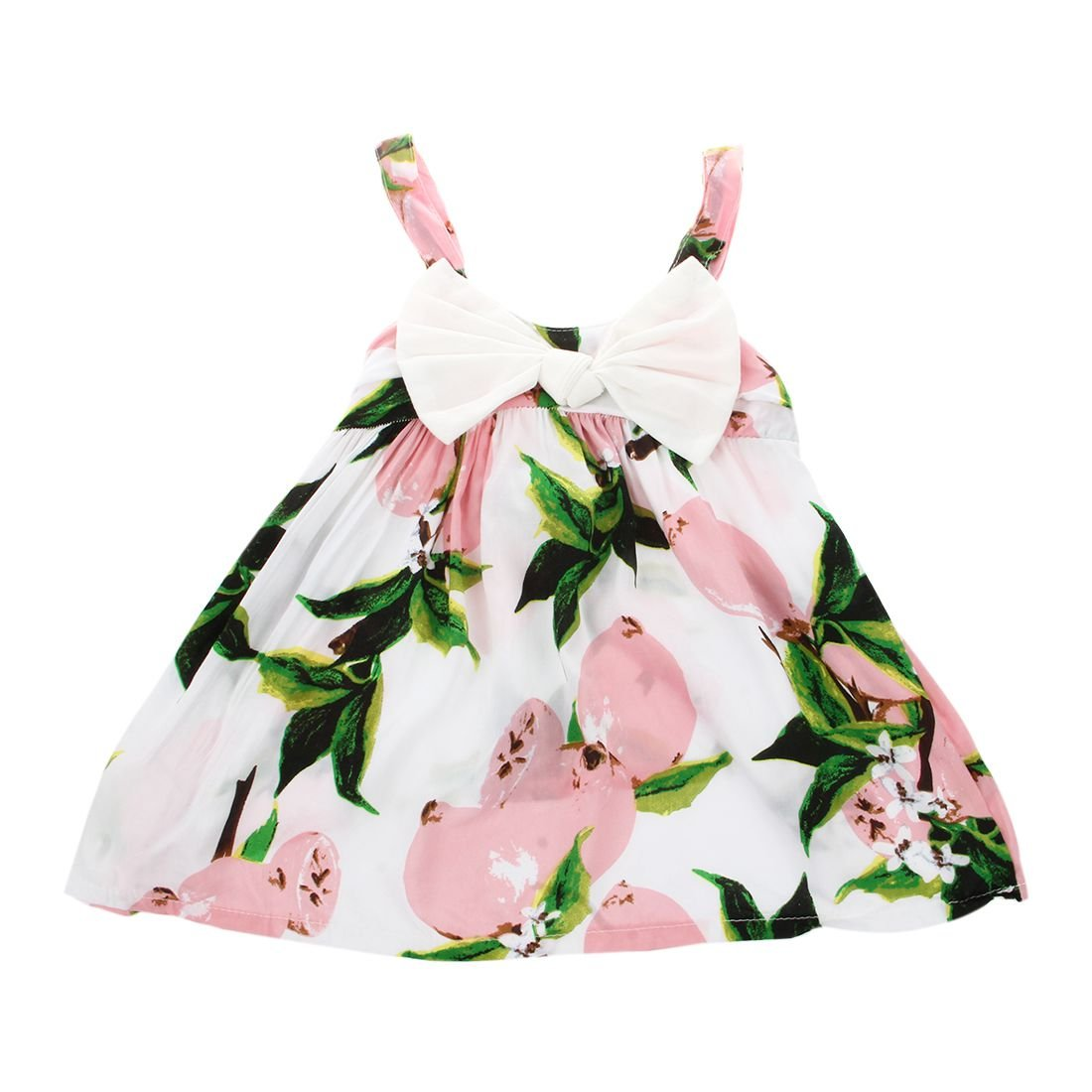9cfbe03360 Amazon.com  SODIAL(R) Summer Infant Baby Girls Floral Dress Lemon Print  Bowknot Sundress Clothes