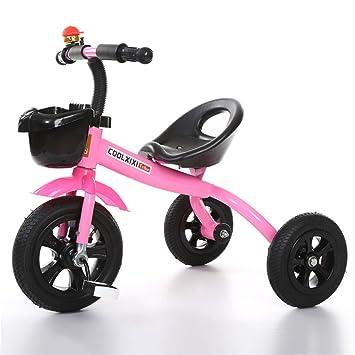 Triciclo Carro de bebé Bicicleta Niño Juguete Coche Rueda Inflable/Plástico Bicicleta de Rueda Adecuado para 1-2-3-4 años (Niño/Niña) Rosa (Tamaño : B): ...