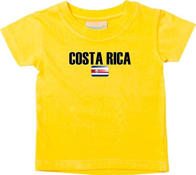 Shirtstown Bebé Niños Camiseta Fútbol Camiseta de País COSTA RICA - amarillo, 0-6Monate
