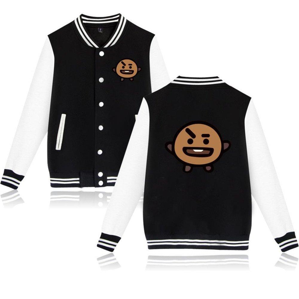 BTS Bangtan Boys Jimin Jung Kook V Suga Baseball Uniform Sweater Jacket Coat (XL, Black shooky)