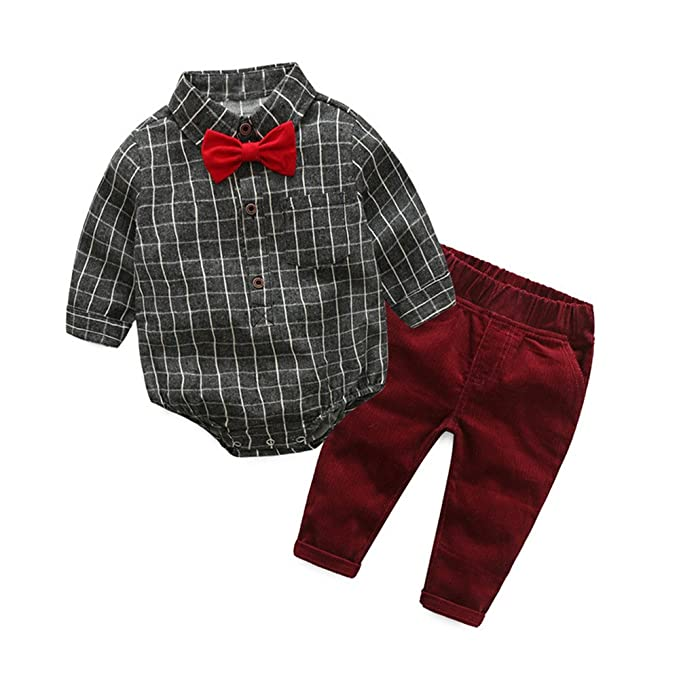 30bdd576d Tem Doger 2Pcs Baby Boys Gentleman Suit Grey Plaid Bowtie Romper Bodysuit  Shirt Corduroy Pants Set