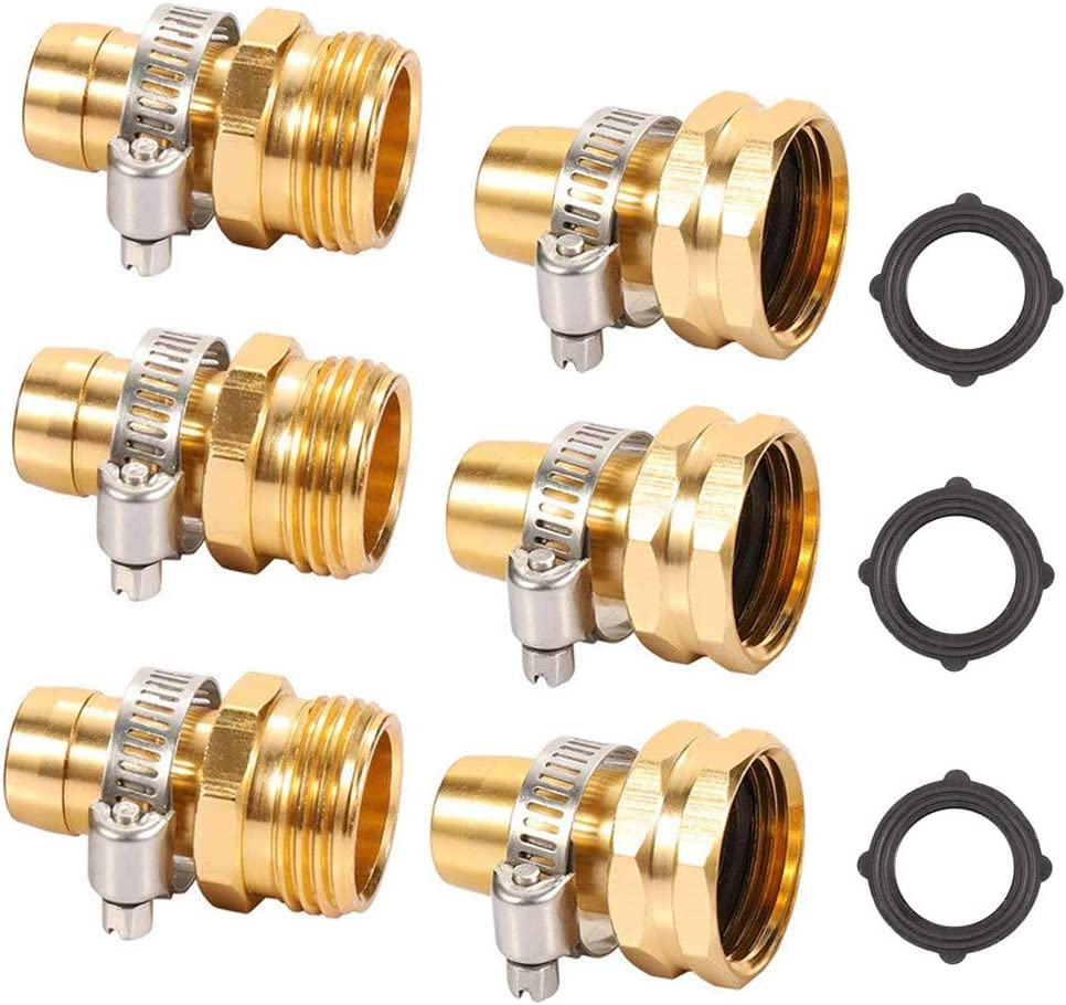 ZKZX Metal Garden Hose Repair Connector with Stainless Steel Clamp, Female and Male Hose Connector,Repair Mender Hose Connector 3pairs