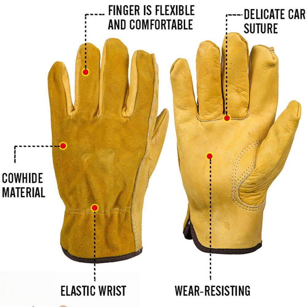 Easy to Assemble 1Pair Leather Garden Gloves Working Protection Gloves Security Garden Labor Gloves Wear Safety Tools (Color : L) by Tuersuer (Image #4)